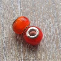 Fiery Red Glass European Charm Beads