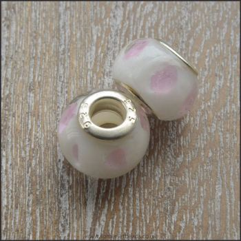 White with Pink Dots Glass European Style Beads