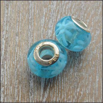 Blue and White Splatt Glass European Charm Beads