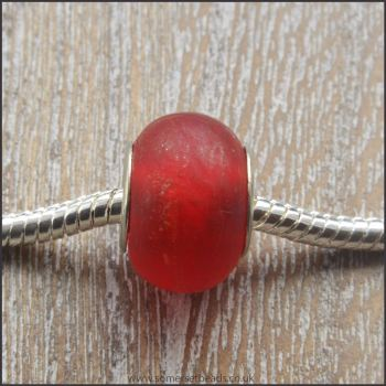 Red Matte Glass European Charm Beads