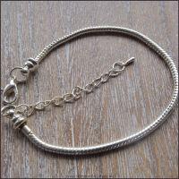 19cm Silver Plated European Snake Chain Bracelet