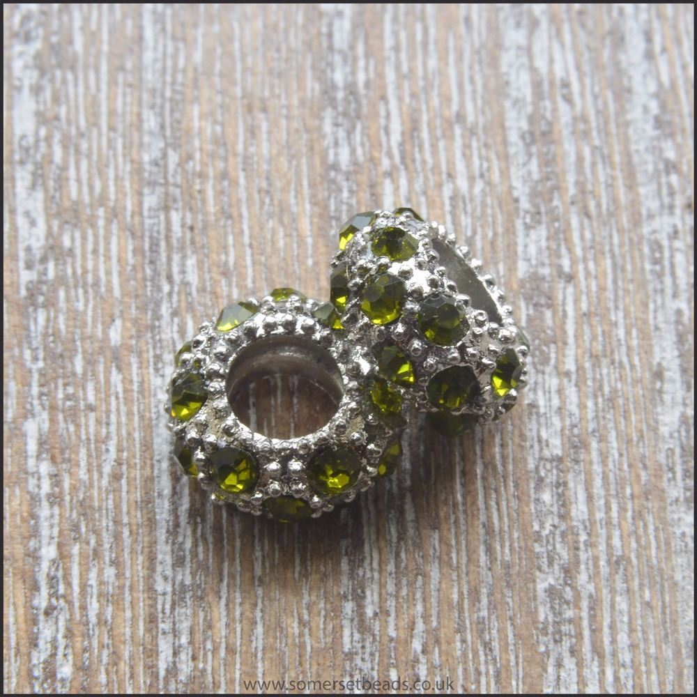 Olive Green Rhinestone Rondelle European Spacer Beads