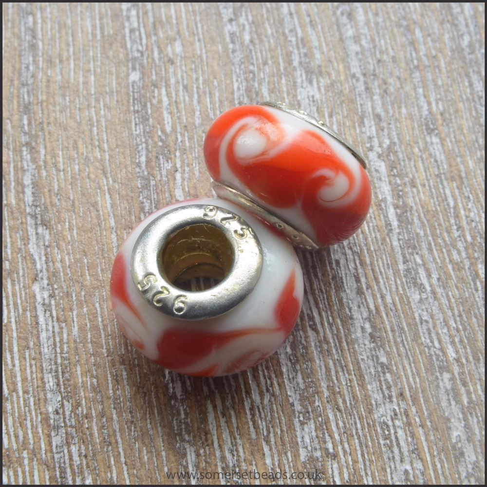 Red and White Glass European Style Charm Beads
