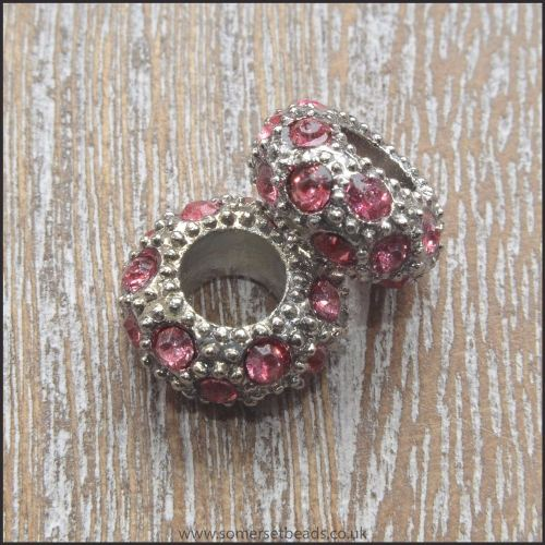 Rose Pink Rhinestone Rondelle Spacer Beads