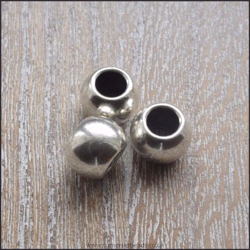 Antique Silver Large Hole European Style Spacer Beads