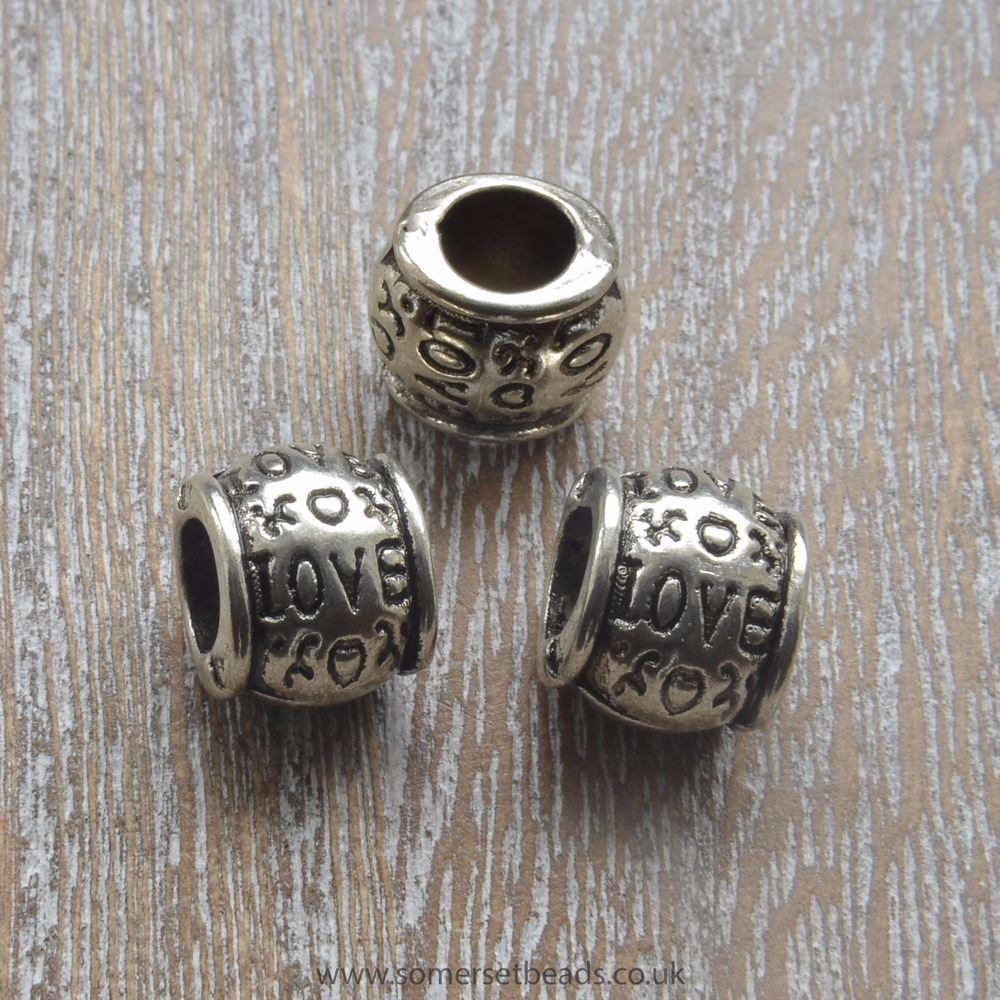 Tibetan Silver Style Love European Spacer Beads
