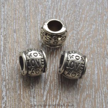 Tibetan Silver Style Love European Spacer Beads