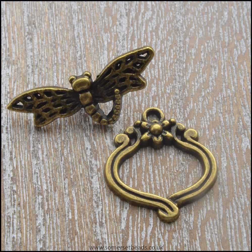 Bronze Dragonfly Toggle Clasp