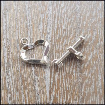 Silver Plated Heart Toggle Clasps