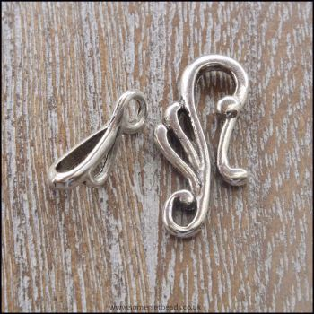 Silver Tibetan Style Scroll Hook and Eye Clasp