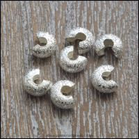 4mm Silver Plated Stardust Crimp Covers