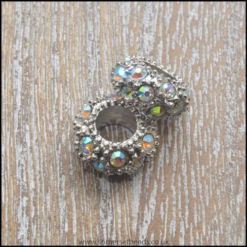 Clear AB Rhinestone  Rondelle European Spacer Beads