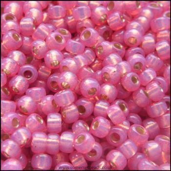 8/0 Dyed Dark Rose Silver Lined Alabaster Miyuki Seed Beads - 8-645