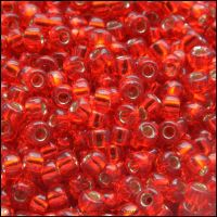 8/0 Silver Lined Flame Red Glass Miyuki Seed Beads - 8-10