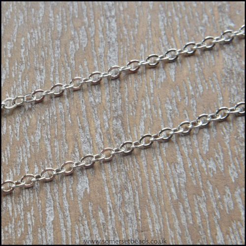 18 Inch Silver Plated Fine Cable Chain Necklace