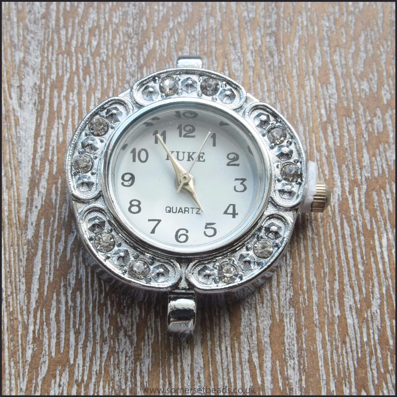 Round Silver Rhinestone Watch Face For Jewellery Making- Style 2
