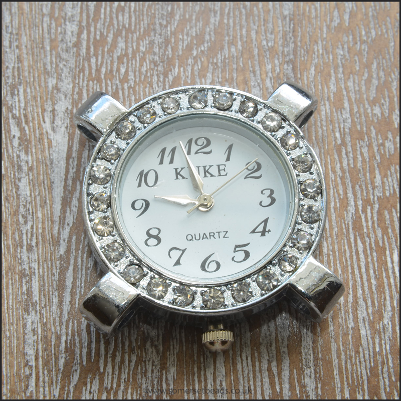 Silver Rhinestone 4 Hole Round Watch Face For Jewellery Making