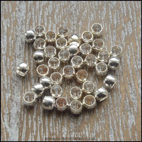 3mm Silver Plated Crimp Beads