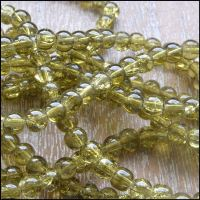 4mm Olive Green Crackle Glass Beads