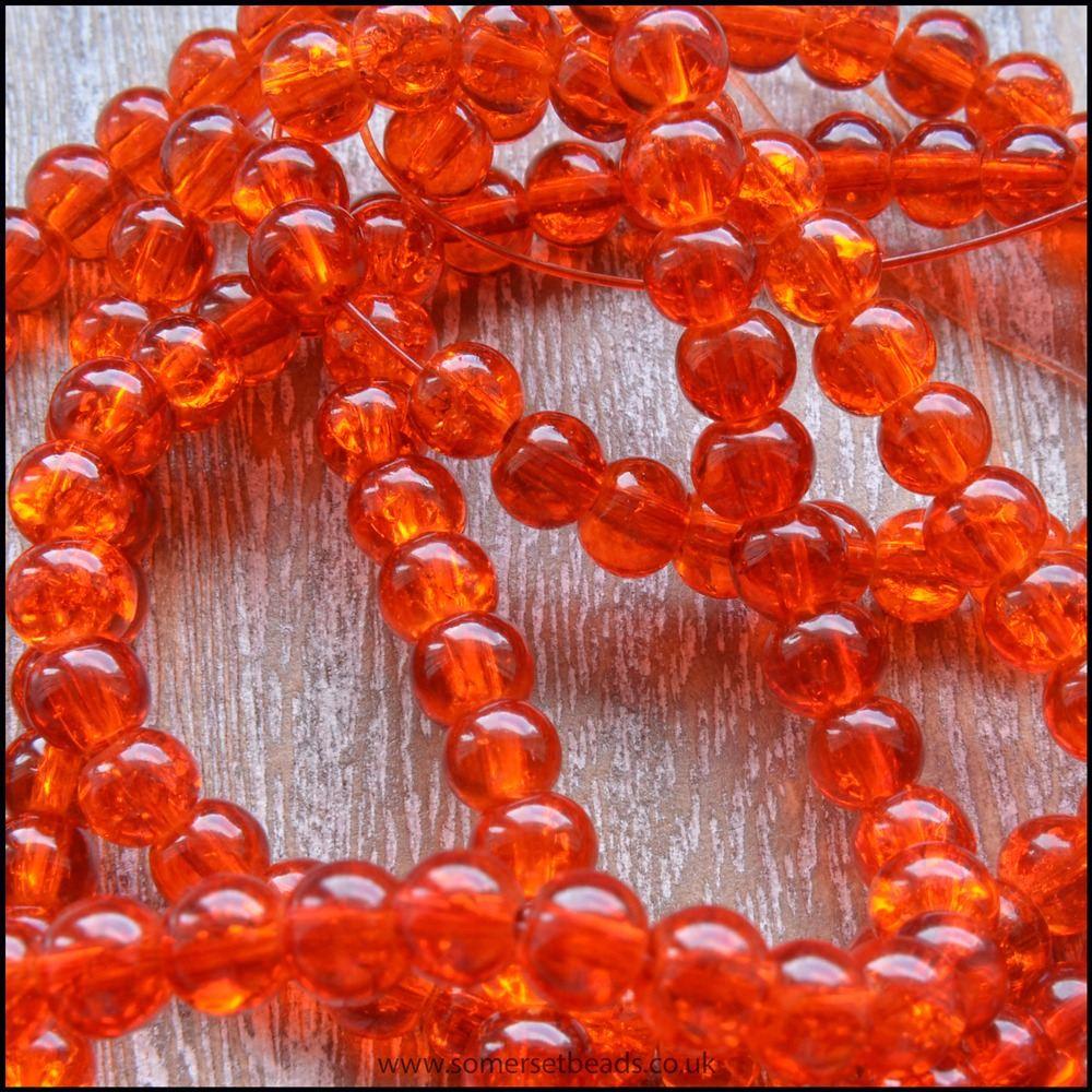 4mm Orange Crackle Glass Beads