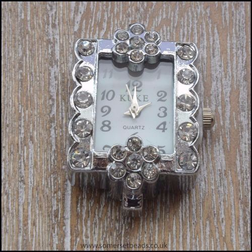 Chunky Rectangle Rhinestone Quartz Watch Face For Beading