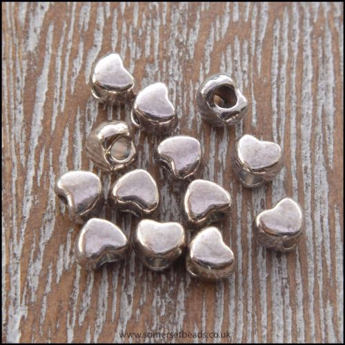 4mm Antique Silver Tibetan Style Heart Spacer Beads