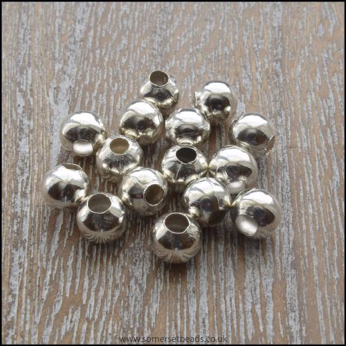 4mm Silver Round Spacer beads