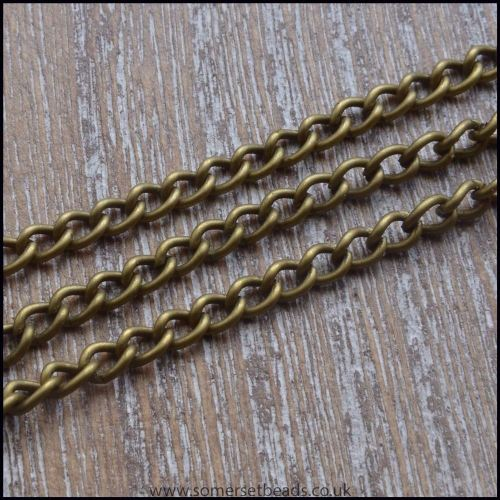 Antique Bronze Curb Chain 4mm x 3mm