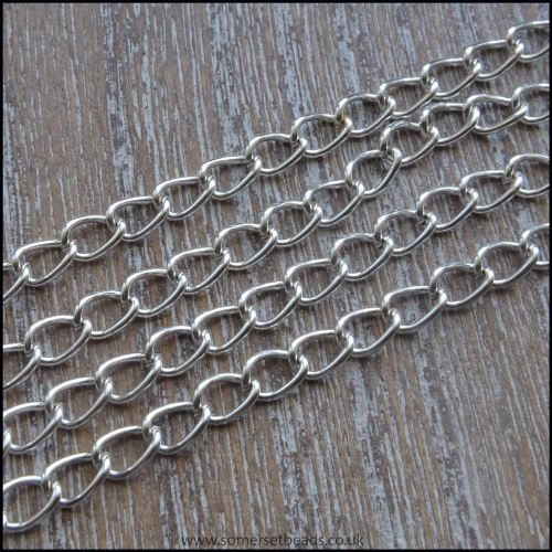 Silver Plated Curb Chain 5.5mm x 3.5mm