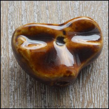 30mm Chocolate Glazed Ceramic Fluted Heart Focal Bead