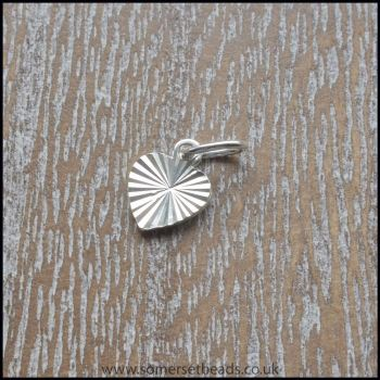 925 Sterling Silver Striped Heart Charm