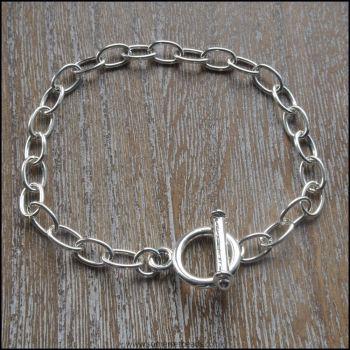Silver Plated Large Link Charm Bracelet