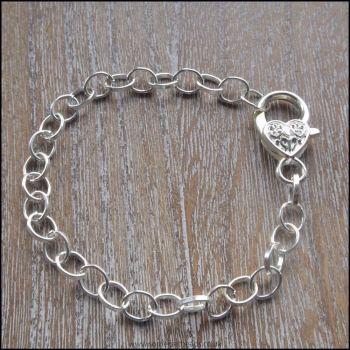 Silver Plated Oval Link Charm Bracelet