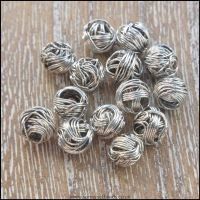 6mm Silver Wire Wrapped Beads