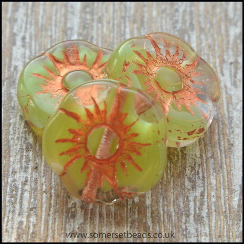 Czech Picasso Flower Green Shine Capri 11mm Beads