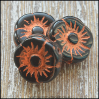 Czech Picasso Flower Black Shine Capri Beads 11mm