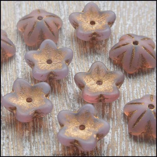 Czech Glass Bell Flowers  Antique Lilac 10mm x 4mm Pk 10