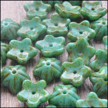 Czech Glass Bell Flowers Turquoise Picasso 10mm x 4mm Pk 10