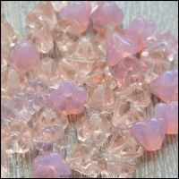 Czech Glass Trumpet Flowers 6mm x 6mm Pink Mix