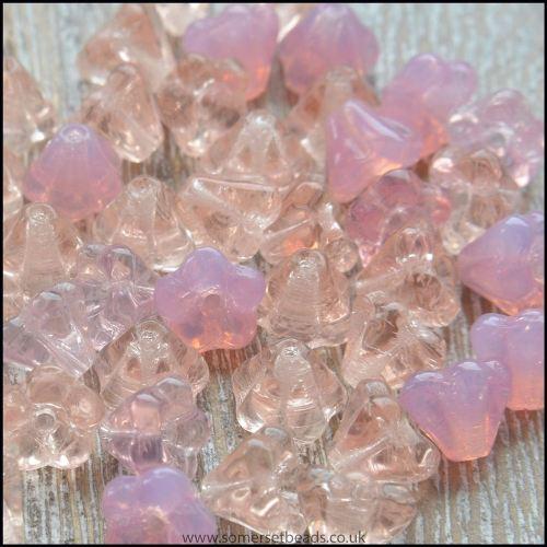 Czech Glass Trumpet Flowers 6mm x 6mm Pink Mix