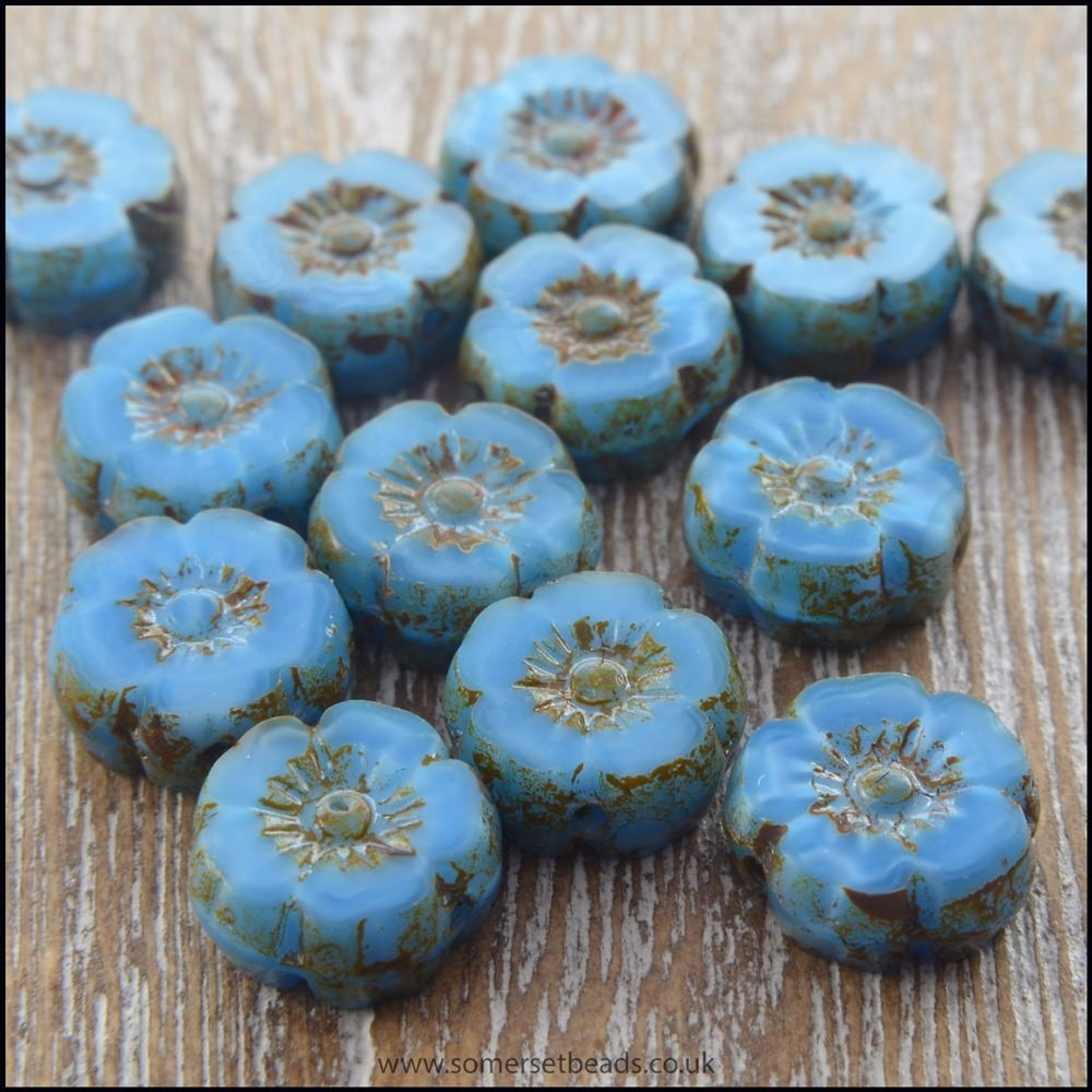 Mini Czech Table Cut Picasso Flower Beads - Opaque Blue - 8mm