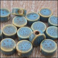 9mm Blue Speckled Fancy Glazed Ceramic Disc Beads