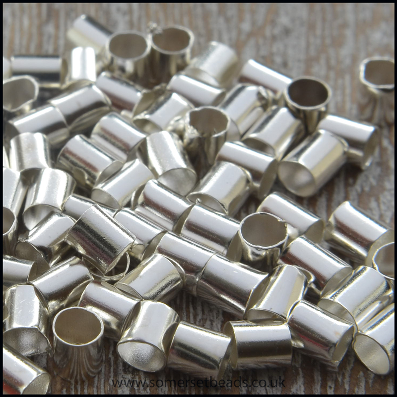 Large Silver Tube Crimp Beads - 3mm