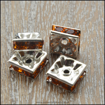 Amber Rhinestone Square Spacer Beads