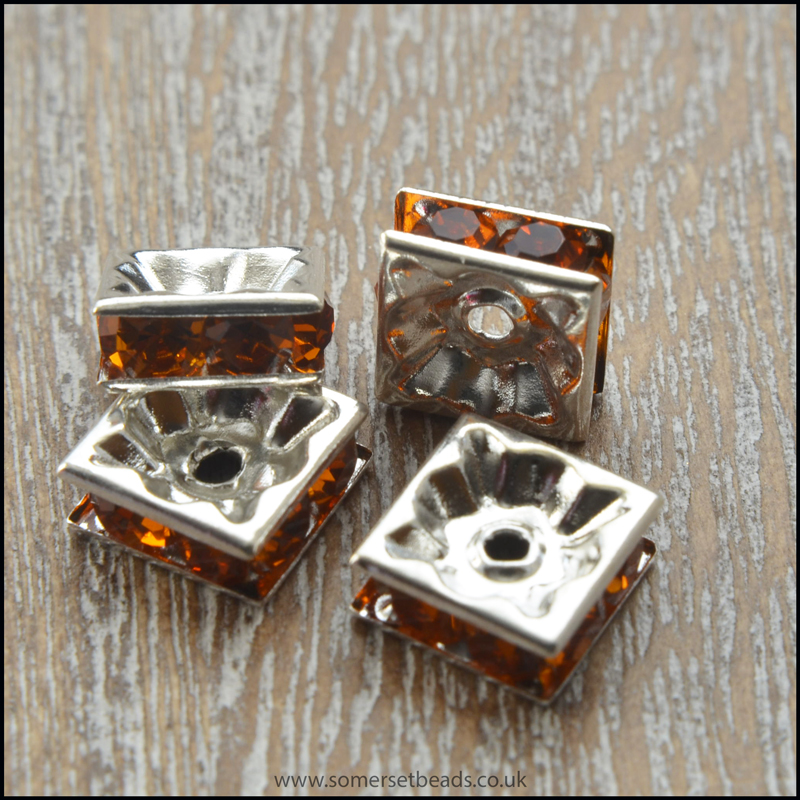 Amber Rhinestone Square Spacer Beads