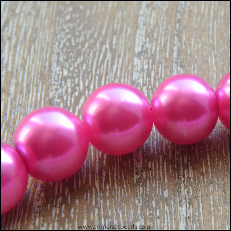 10mm Pink Glass Pearl Beads