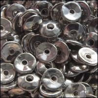 7mm Silver Coloured Metal Disc Spacer Beads