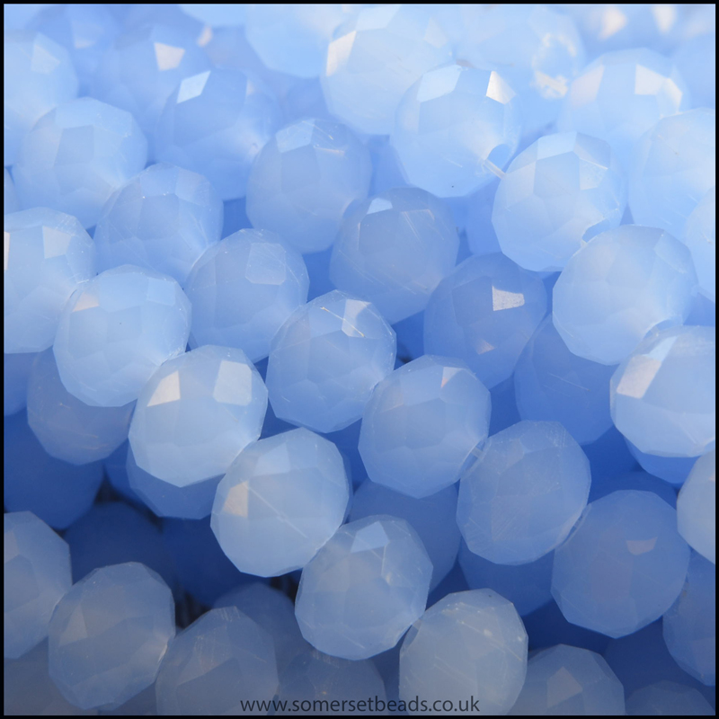 Opaque Faceted Glass Crystal Rondelle Beads Cornflower 6mm x 4mm