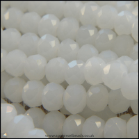 Opaque Faceted Glass Crystal Rondelle Beads White 6mm x 4mm