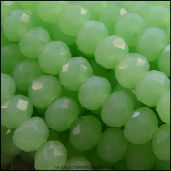 Opaque Faceted Glass Crystal Rondelle Beads Pale Green 6mm x 4mm